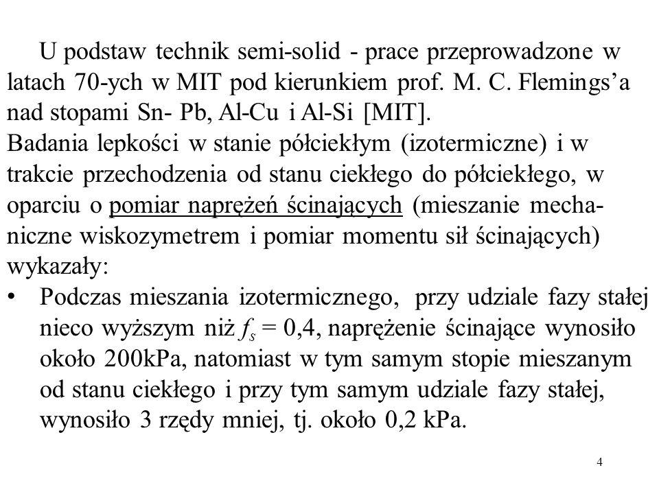 U podstaw technik semi-solid - prace przeprowadzone w latach 70-ych w MIT pod kierunkiem prof. M. C. Flemings'a nad stopami Sn- Pb, Al-Cu i Al-Si [MIT].